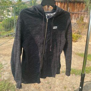 PINK dark gray and white zip down sweater , used
